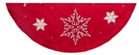 Kurt Adler 60-Inch Red Snowflake Embroidered and Pleated Tree skirt