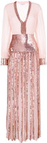Temperley London plunge sequin panel dress