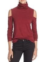Pam & Gela Cold Shoulder Turtleneck Top