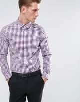 Asos Smart Stretch Slim Poplin Check Shirt In Purple