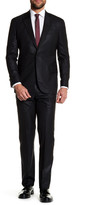 Michael Bastian Black Sharkskin Single Button Peak Lapel Wool Extra-Trim Fit Suit