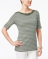 Karen Scott Striped Elbow-Sleeve Top, Only at Macy's