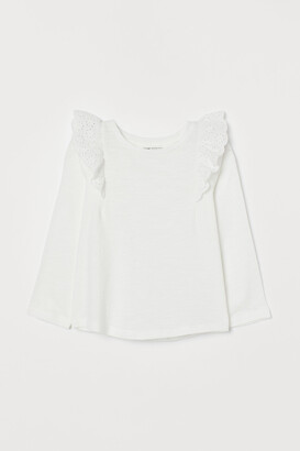 H&M Ruffle-trimmed Cotton Top