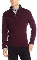 DKNY Men's Long Sleeve 1/4 Zip Rib Marl Mock Neck Sweater