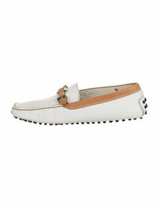 Tod's Leather Colorblock Pattern Loafers White