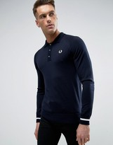 Fred Perry Laurel Wreath Knit Polo Long Sleeve Tipped Cuff In Navy/white