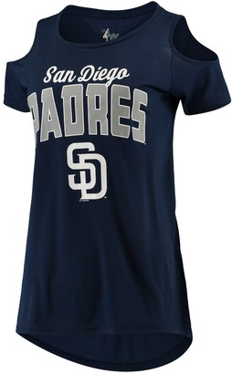 clear G Iii Women's G-III 4Her by Carl Banks Navy San Diego Padres the Bases Cold Shoulder T-Shirt