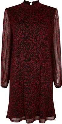 Wallis Red Leaf Print High Neck Dress
