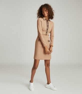 Reiss GEMIMA BUTTON COLLAR KNITTED DRESS Neutral
