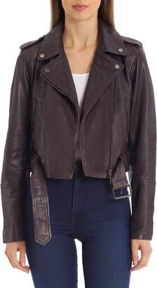 AVEC LES FILLES Belted Leather Biker Jacket