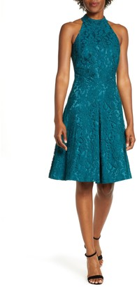 Brinker & Eliza Floral Lace Fit & Flare Dress