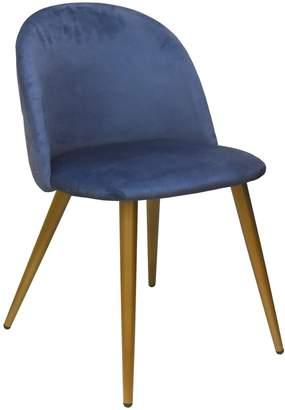 Urban Shop Blue Velvet Round Back Chair