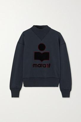 Etoile Isabel Marant Moby Flocked Cotton-blend Jersey Sweatshirt - Black