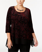 NY Collection Plus Size Printed Velvet Chiffon-Hem Top