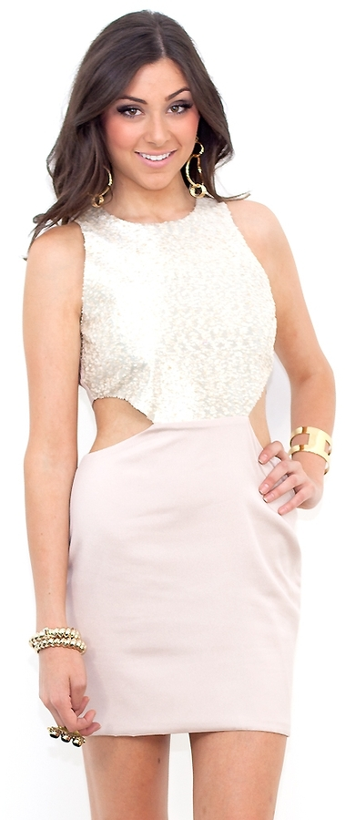 Naven Two Tone Cut Out Dress in Champagne