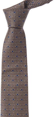 Salvatore Ferragamo Grey & Navy Woven Gancini Silk Tie