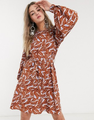 Object puff sleeve tie waist dress in leaf print