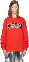MSGM Red Block Letter Logo Pullover