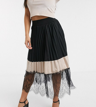 Outrageous Fortune Petite contrast lace pleated midi skater skirt in black