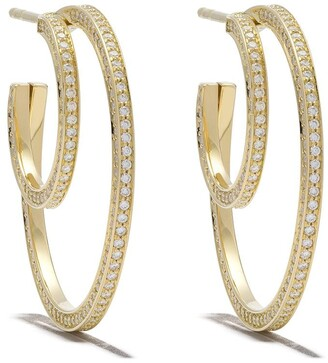 Georg Jensen 18kt yellow gold Halo brilliant cut diamond ear hoops