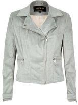 River Island Womens Light grey faux suede biker jacket