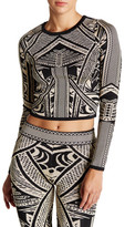Wow Couture Printed Long Sleeve Cropped Shirt