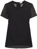 La Perla Chiffon-paneled Cotton And Silk-blend Top - Black