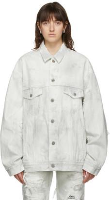 Balenciaga Grey Denim Ripped Jacket