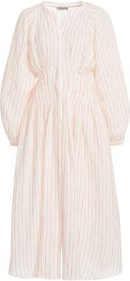 Three Graces London Valeraine Striped Linen Maxi Dress