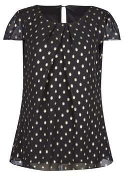 Dorothy Perkins Womens **Billie & Blossom Tall Black And Gold Spot Shell Top, Black