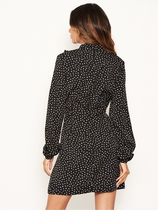 AX Paris Polka Print High Neck Dress - Black