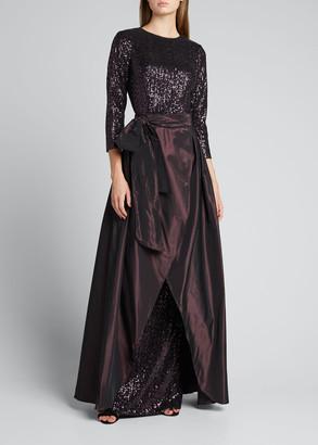 Rickie Freeman For Teri Jon 3/4-Sleeve Sequin Column Gown with Taffeta Overskirt