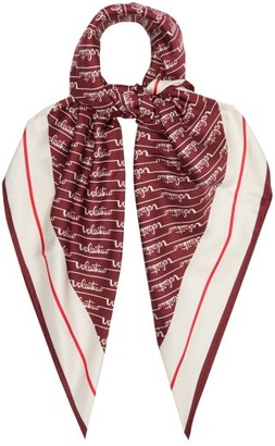 Valentino Cursive Logo-print Silk-faille Scarf - Womens - Red