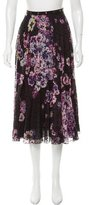 Giamba Floral Printed Silk Midi Skirt