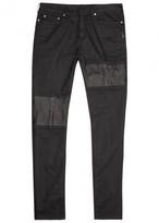 Neil Barrett Black Leather-panelled Skinny Jeans
