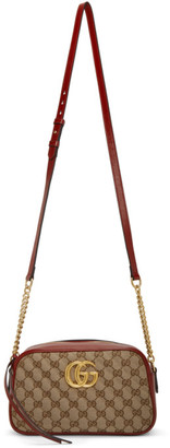 Gucci Beige and Red GG Marmont 2.0 Supreme Shoulder Bag