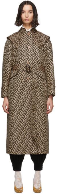 Gucci Beige Wool G Rhombus Cap Trench Coat