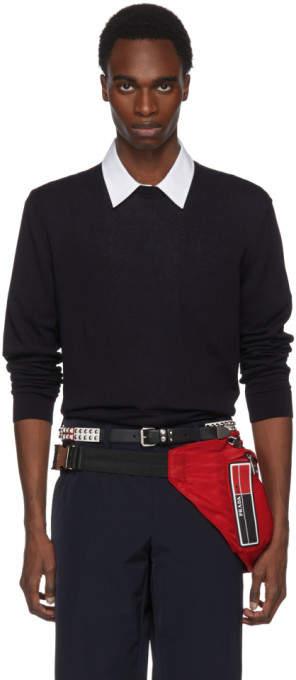 Prada Navy Cotton Crewneck Pullover