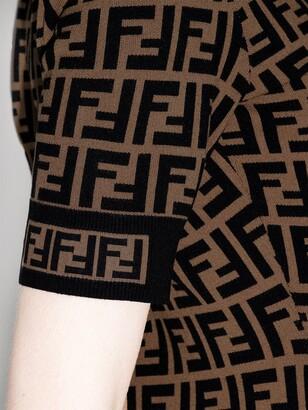 Fendi FF-logo knitted midi dress
