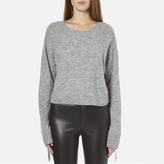 Helmut Lang Women's Crew Neck Cropped Tie Sleeve Jumper Heather Grey