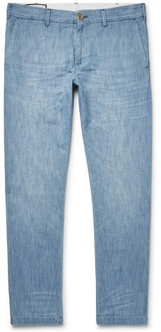 Gucci Cropped Slim-Fit Embroidered Cotton-Chambray Trousers