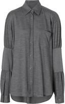 Burberry Panelled-sleeve Wool Shirt