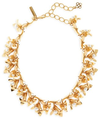 Oscar de la Renta Swarovski Pearl & Goldtone Floral Statement Necklace