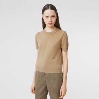 Burberry Sik Trim Monogram Motif Cashmere Top