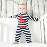 Nell Percy and Personalised Stars Navy Stripe Romper
