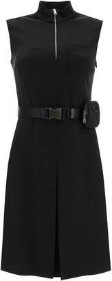 Prada Belted Pouch Flared Dress