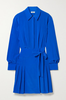 Jason Wu Pleated Silk Crepe De Chine Mini Shirt Dress - Bright blue