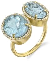 Irene Neuwirth Double Aquamarine and Diamond Ring