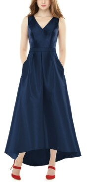 Alfred Sung High-Low Satin Gown