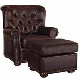 Asstd National Brand Mlssa Chair Ottoman Faux Leather Roll-Arm Chair